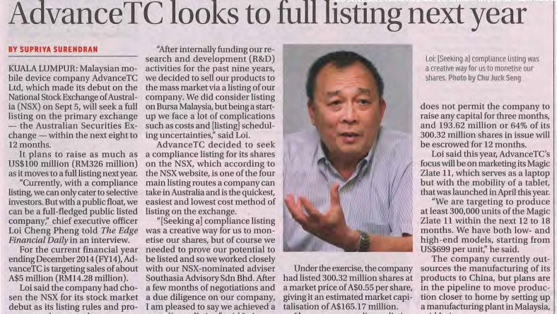 AdvanceTC Look To Full Listing Next Year